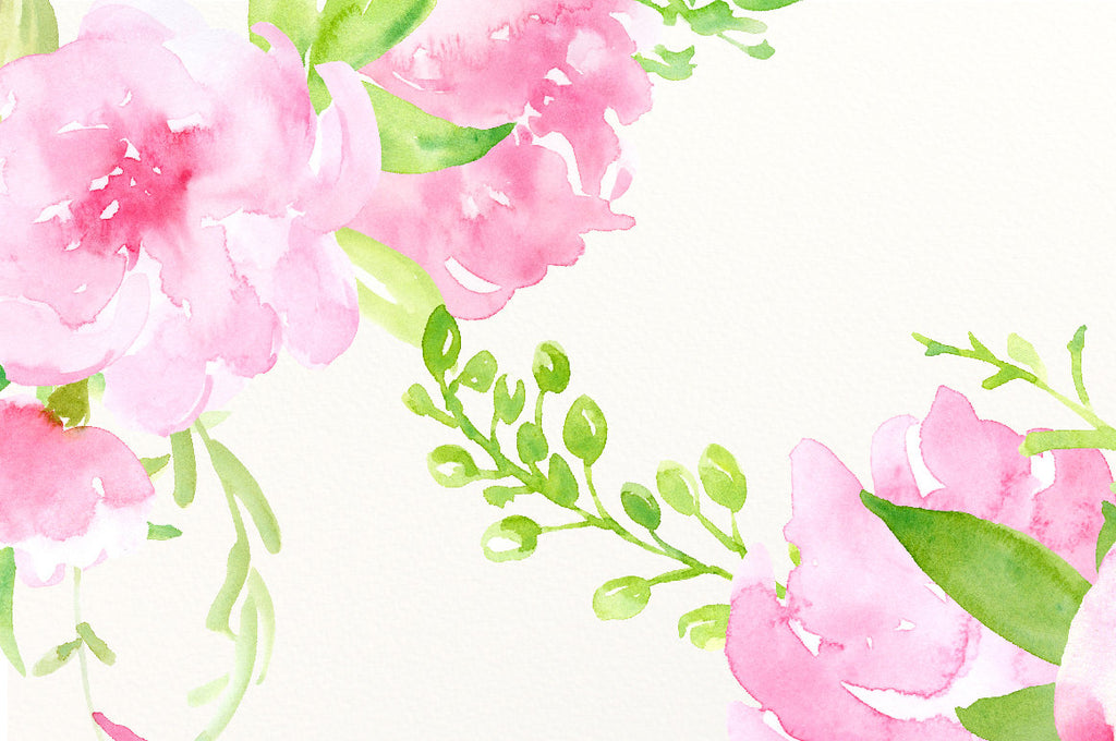 Hand painted watercolor pink peonies, pink flowers, decorative elements and flower posies for instant download.