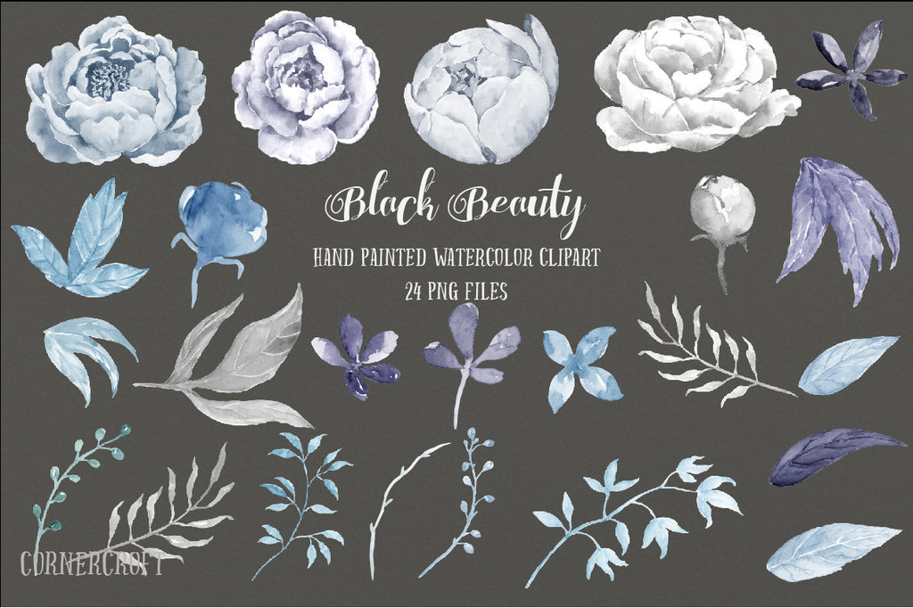 grey peony illustration, watercolor clipart, instant download