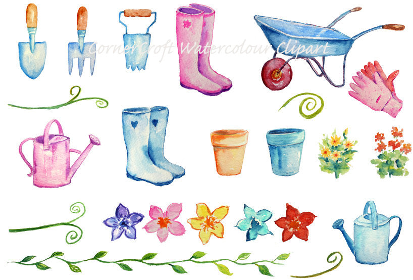 watercolor gardening clipart, wellies, watering can, wheel barrow, flower pots