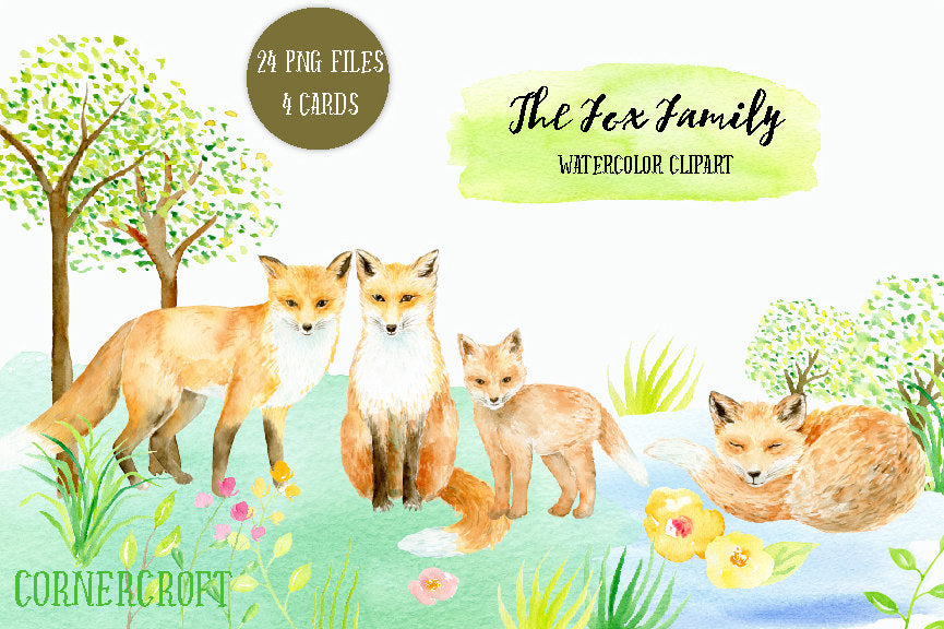 watercolour fox family, sleeping fox, kit, baby fox, corner croft cli part