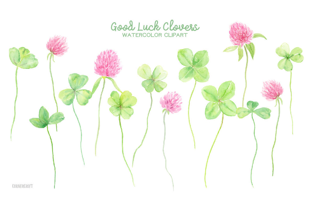 watercolor clipart good luck clover, 4 leaf clover, St Patricks day,