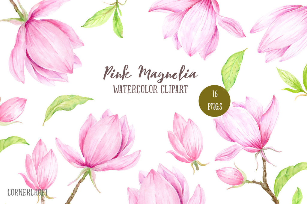 hand painted watercolor pink magnolias, botanical flowers, magnolia branches and decorative leaves for instant download.