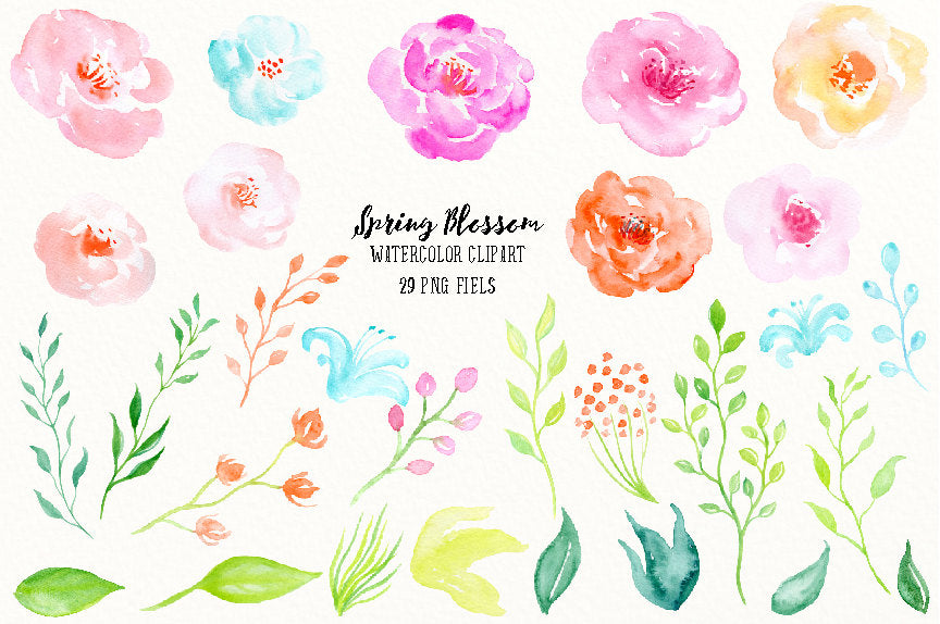 watercolor spring blossoms, spring flowers, pink flower, floral illustration