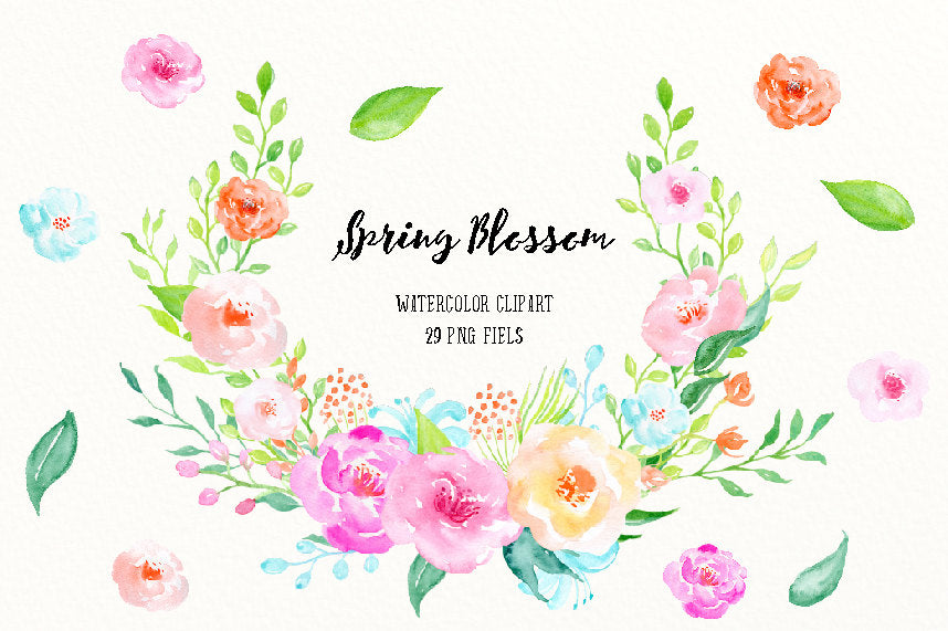 watercolor clipart spring blossoms, delicate pink, yellow and purple flowers