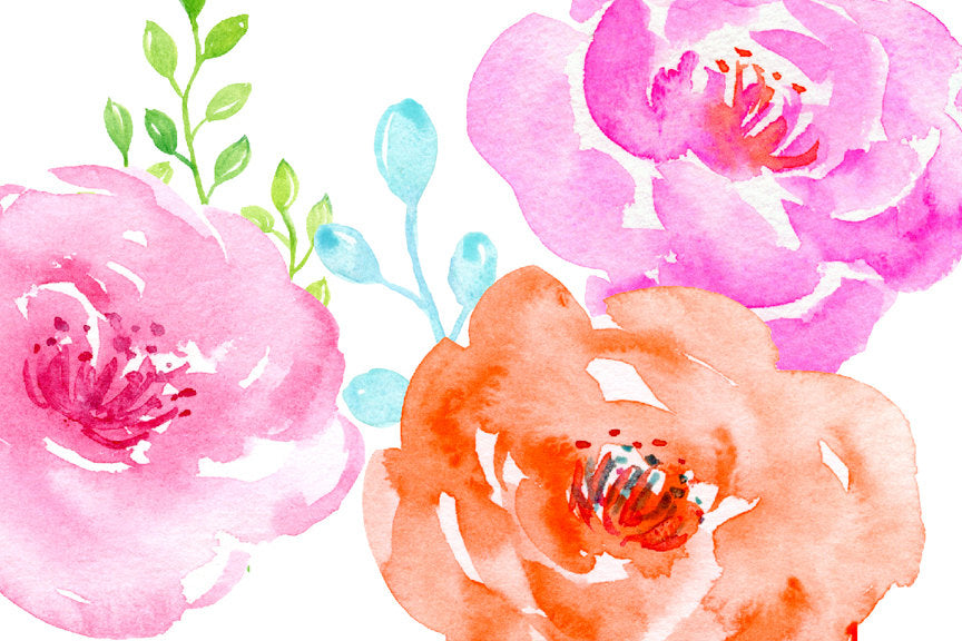 floral clipart, watercolor clipart, pink flower, yellow flower, spring flower, instant download