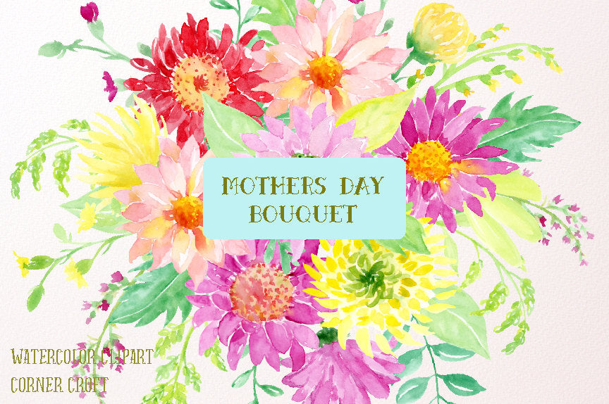 Watercolor Clipart Mother's Day Bouquet - colorful flowers, daisies, chrysanthemum, decorative elements and bouquet for instant download