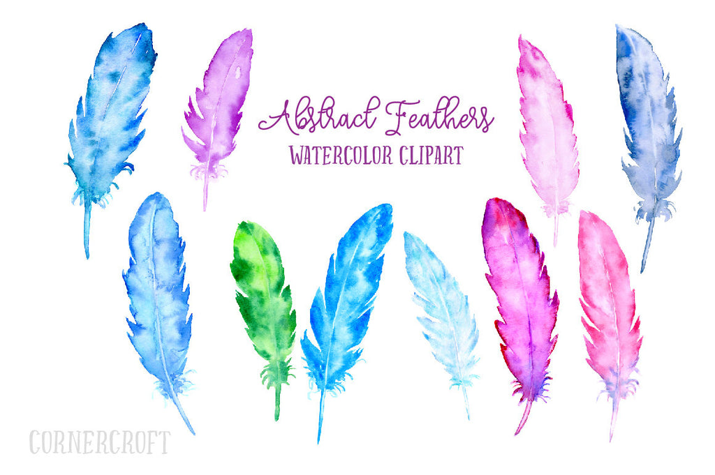 watercolor abstract feather, pink, blue, green and purple feathers