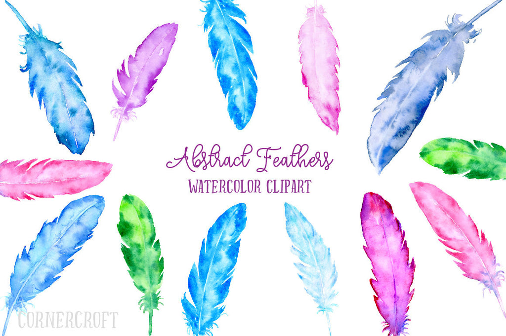watercolor feather graphics, digital download