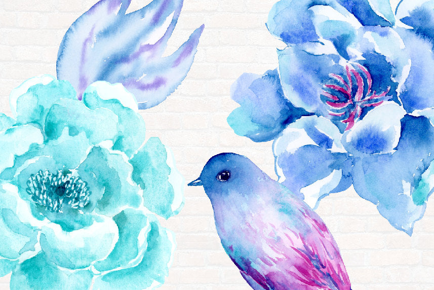 watercolour blue peony, purple flower, wedding flowers, corner croft clip art.