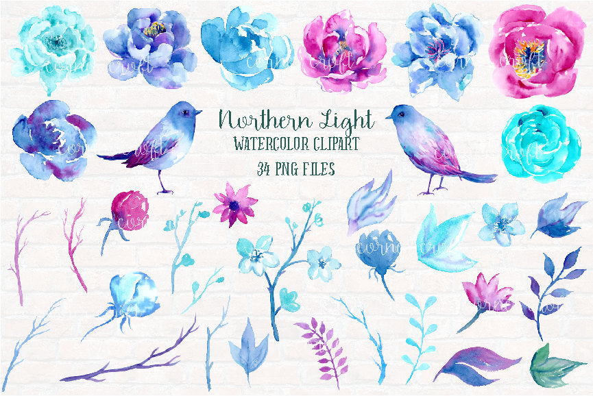 floral elements, wedding flowers, blue flower, purple flower, digital download