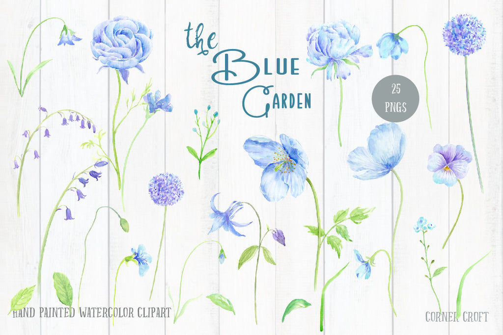 Wedding Clip Art Blue Garden - Watercolor blue peony, blue ranunculus, alliums, blue poppies pansies, blue flowers & decorative elements for instant download.