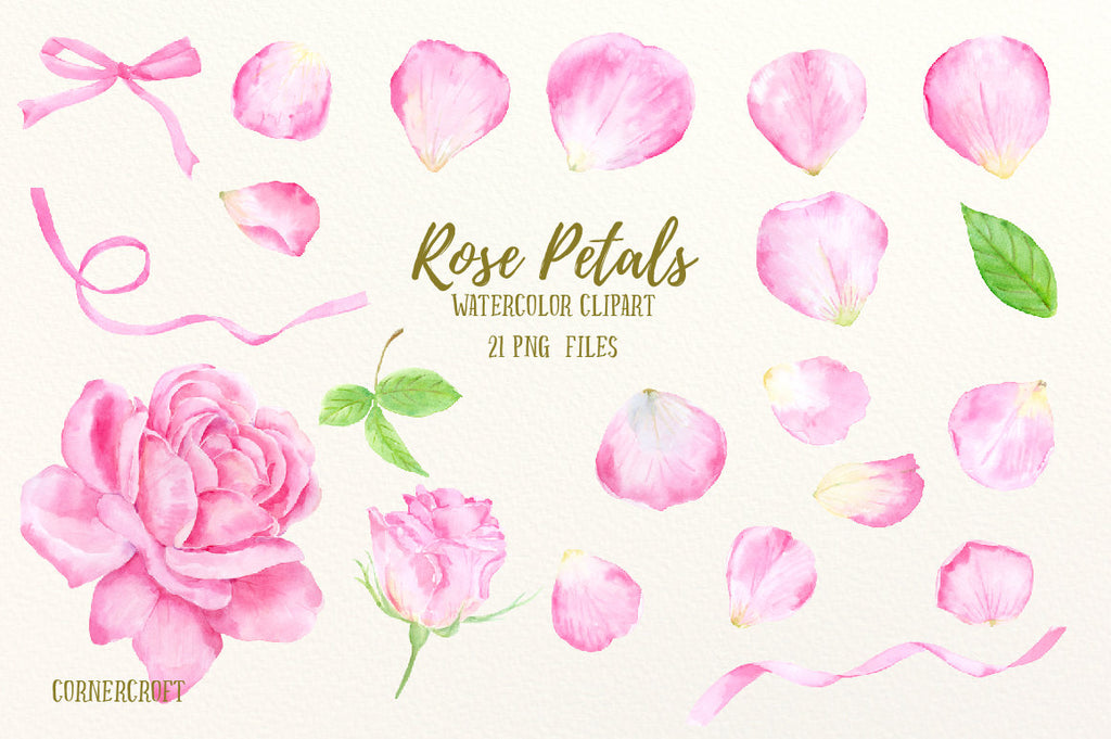 Hand painted watercolor pink rose petals including rose petals, rose flower, rose bud, pink ribbons and leaves for instant download.