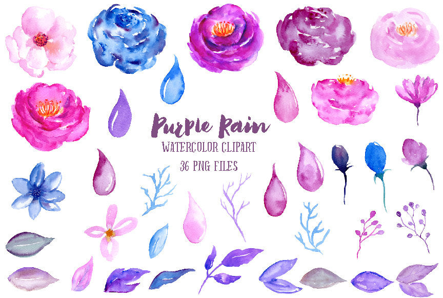 pink, blue, purple, floral elements, watercolour clip art, watercolor illustration