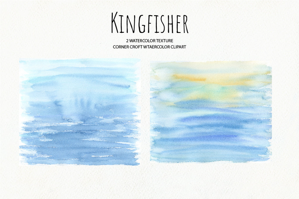 watercolor texture, kingfisher clipart