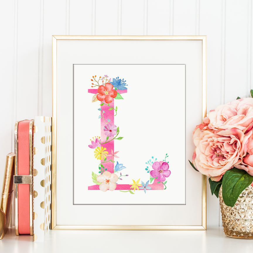 Watercolor pink floral letter L, name initial L, capital letter L, L printable