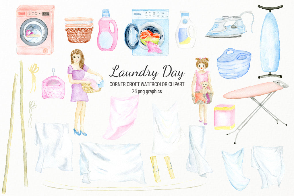 pastel color laundry day clipart, washing machine, daryer and iron board, lady and girl