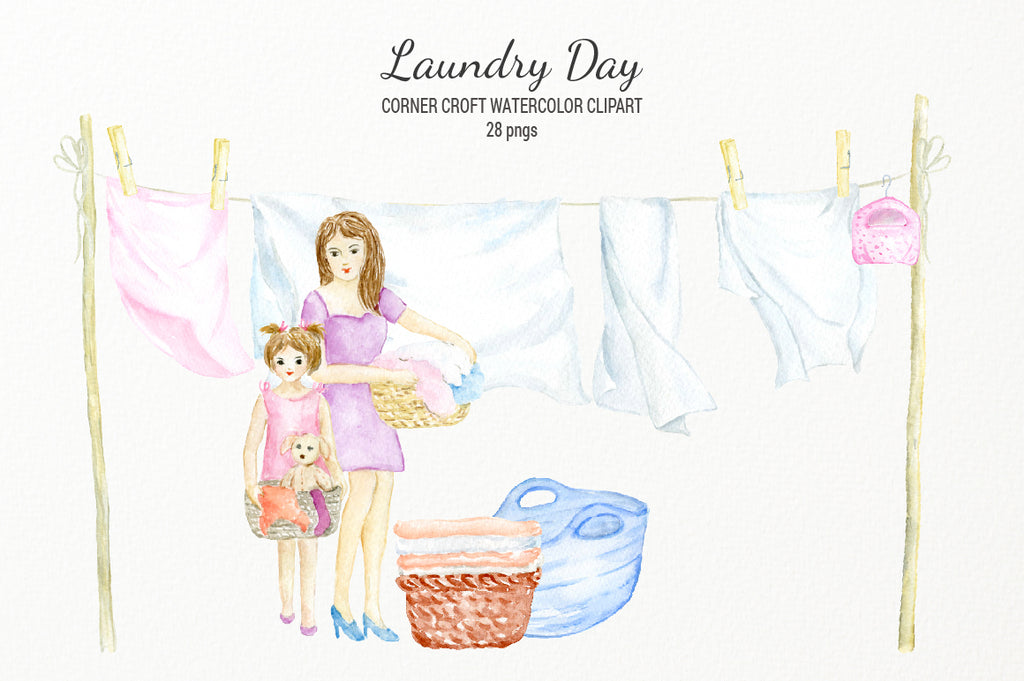washing line of sheets and towels, watercolor illustration of laundry