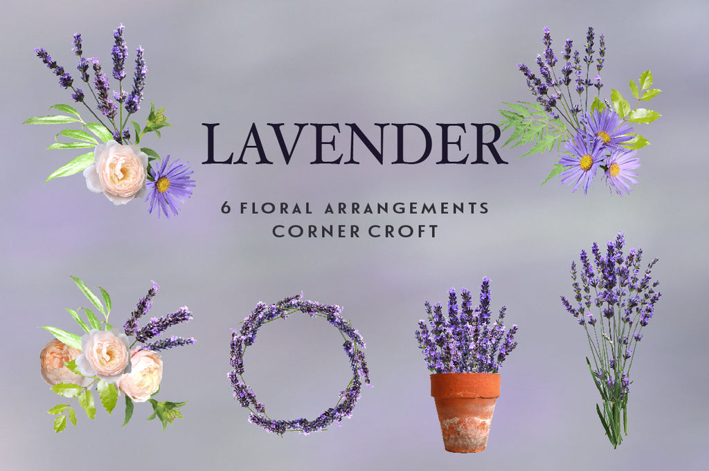 lavender wreath, pot of lavender, floral arrangement digital download