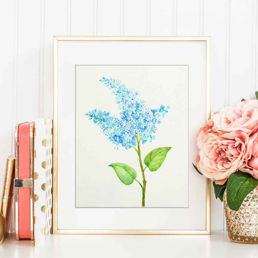 watercolor blue lilac art print, instant download, lilac flower