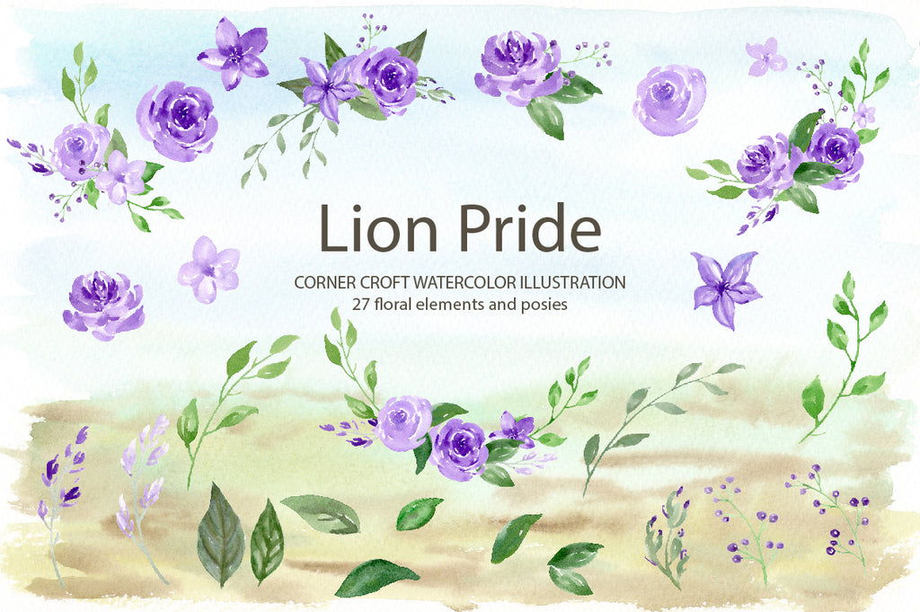 watercolor purple flowers, lion family clipart, wildlife illustration
