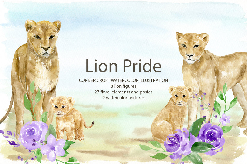 watercolor lion pride illustration, lion family clipcat, for making personalised print.