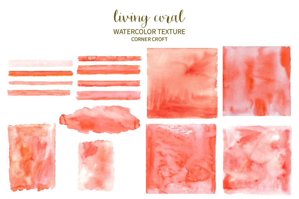 watercolor texture living coral for instant download