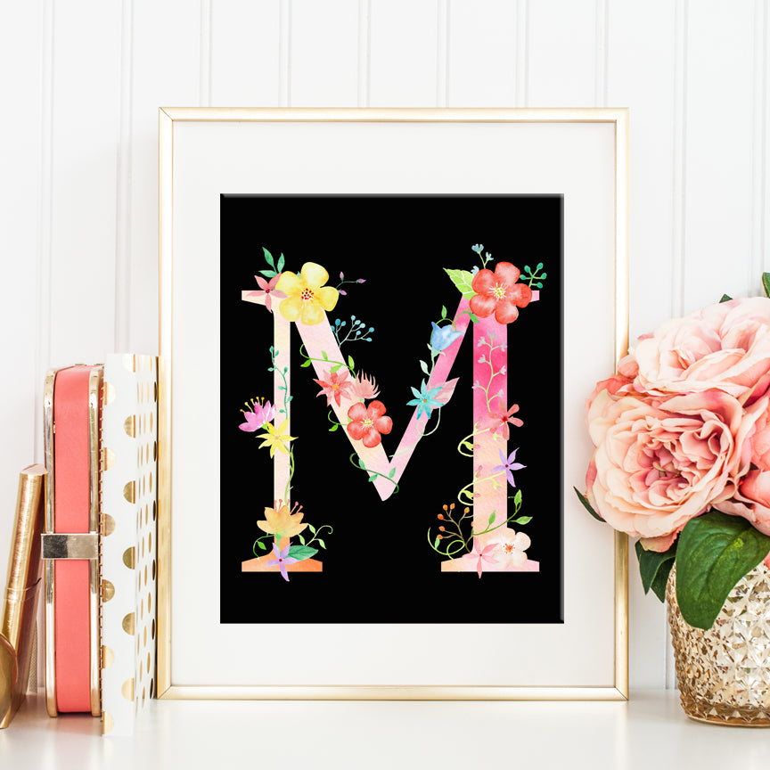 watercolor letter M, alphabet M, digital M, instant download