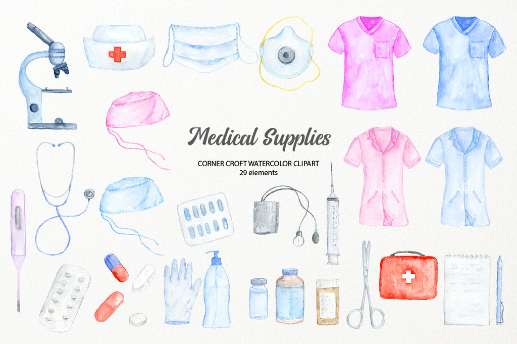 watercolor illustration of medical supply