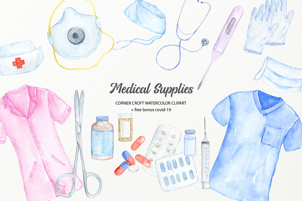 watercolor clipart medical supply, nurse uniform, doctor uniform, conoravirus