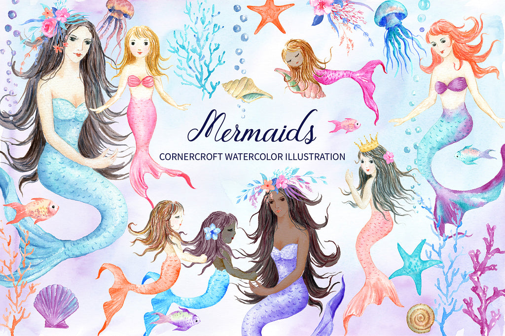 watercolor mermaid clipart, pastel color mermaid collection, mother, daughter and baby