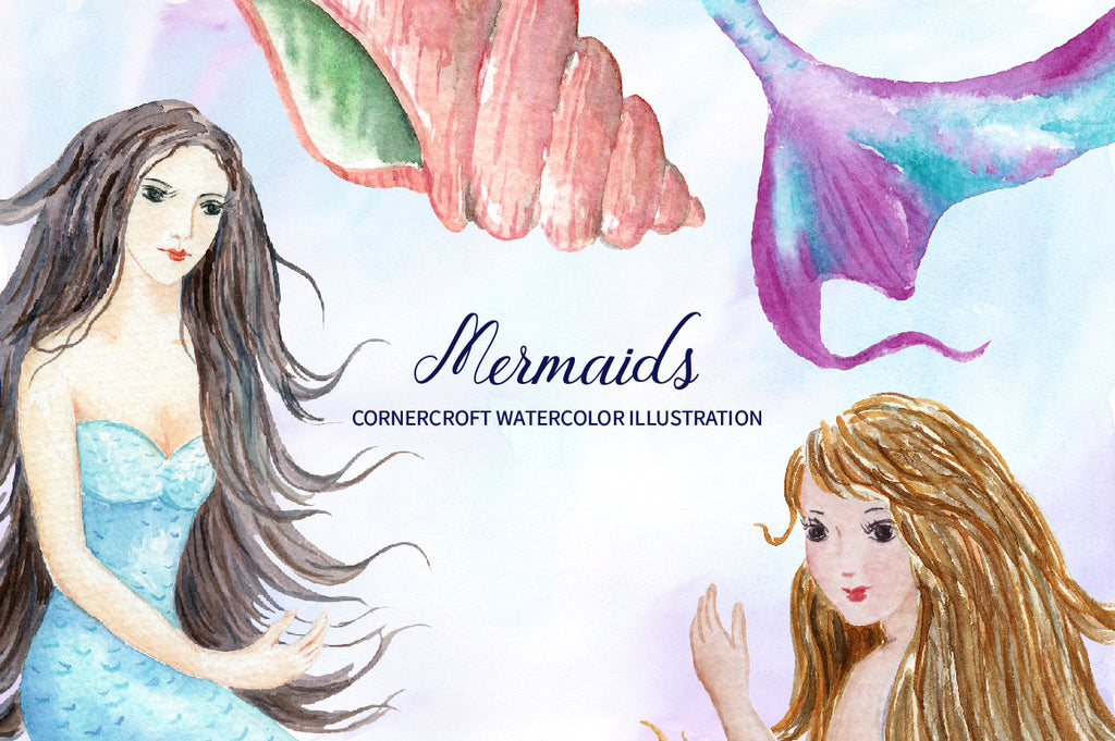 detailed watercolor illustration of mermaids, personalised print creator