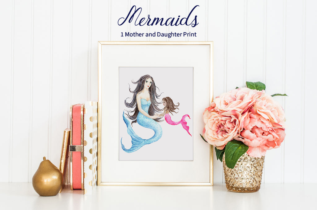 watercolor mermaid mother and daughter print, watercolor mermaid illustration, instant download