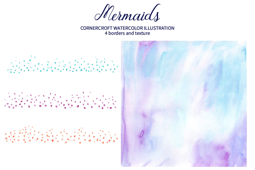watercolor texture, pastel color watercolor mermaid illustration