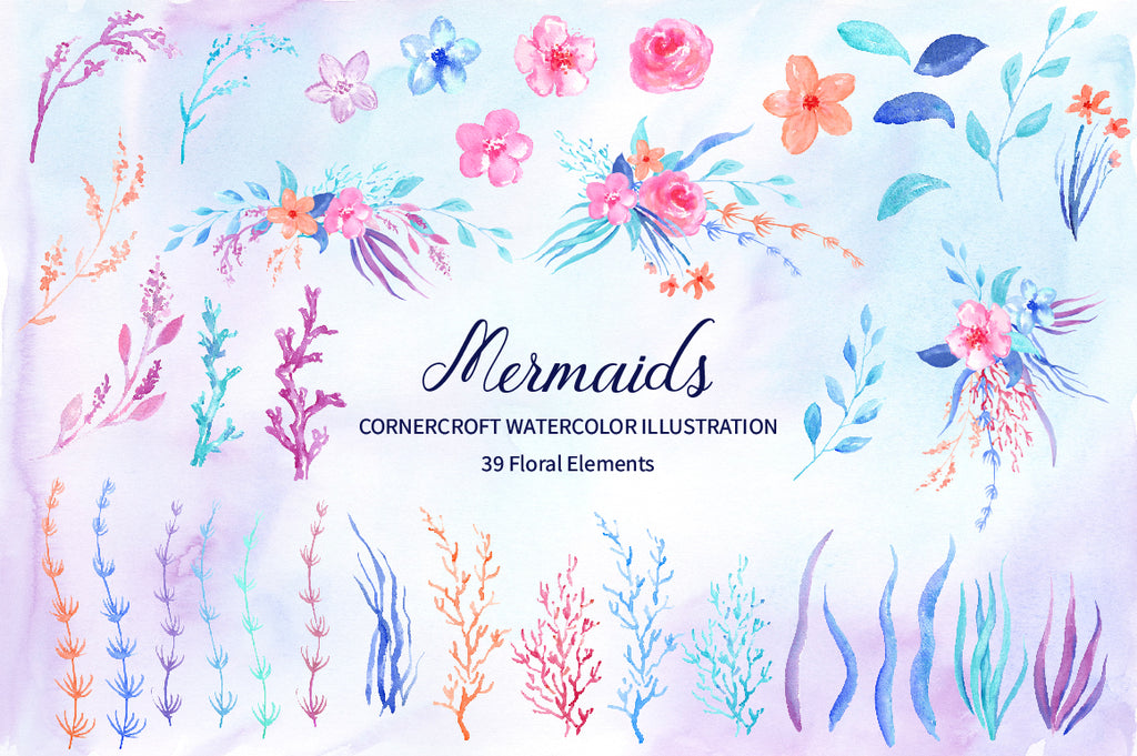 flower collection, watercolor flower illustration, part of mermaid clipart