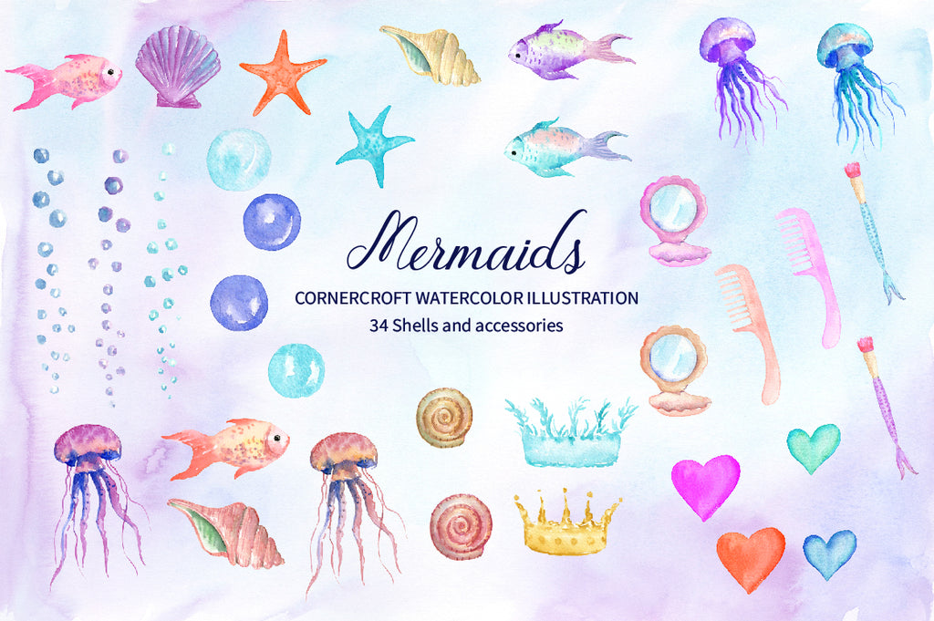 watercolor seashell, starfish, mirror, comb, jelly fish, mermaid illustration