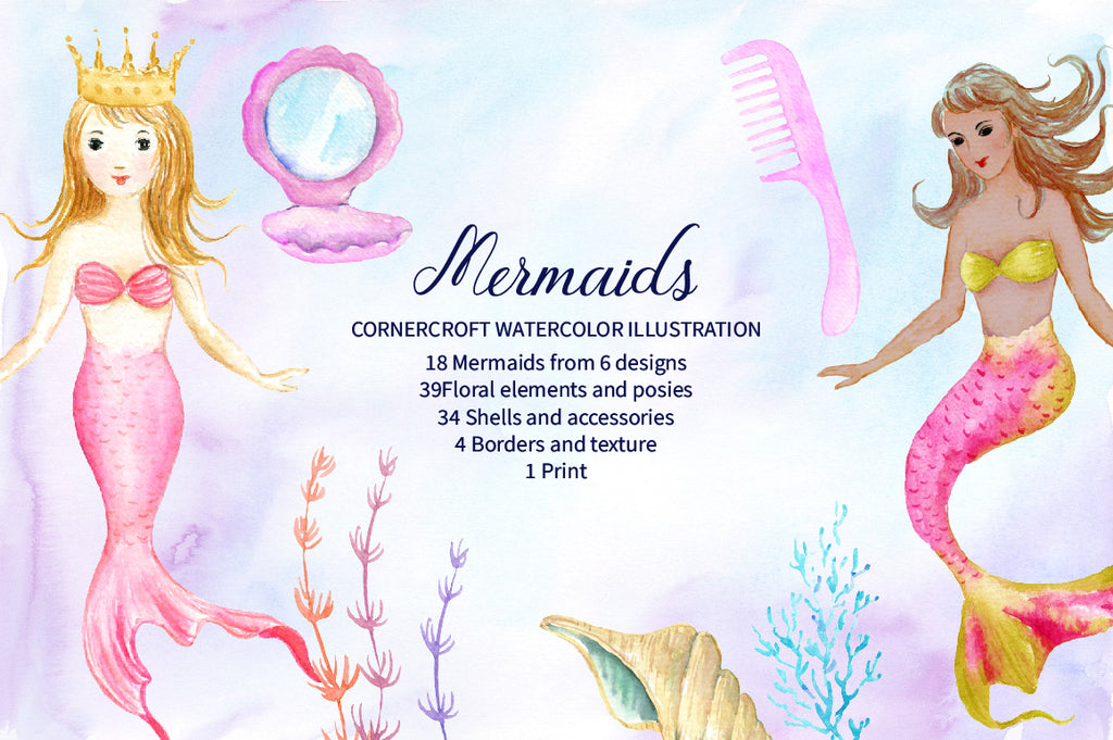 watercolor mermaid collection, mermaid mum, daughter, baby, for making personalised print