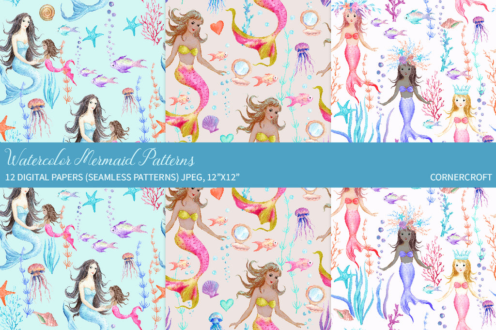 Pretty mermaid seamless pattern, watercolor digital paper