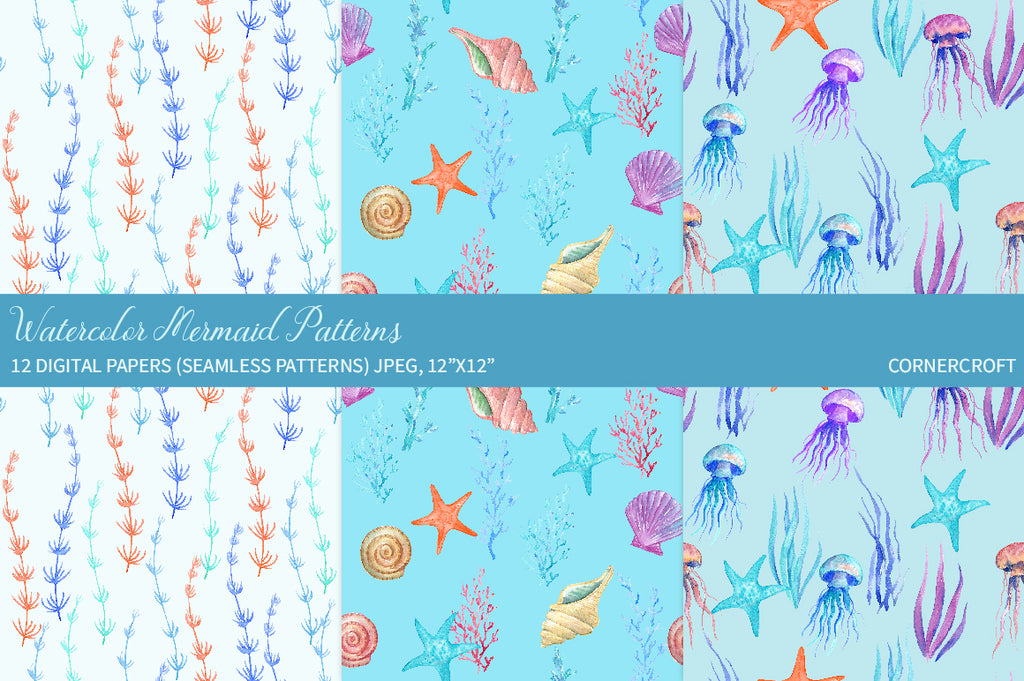 watercolor mermaid pattern, mother's day gift