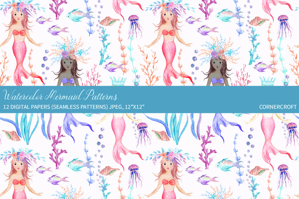 watercolor meraid princess pattern, seamless pattern