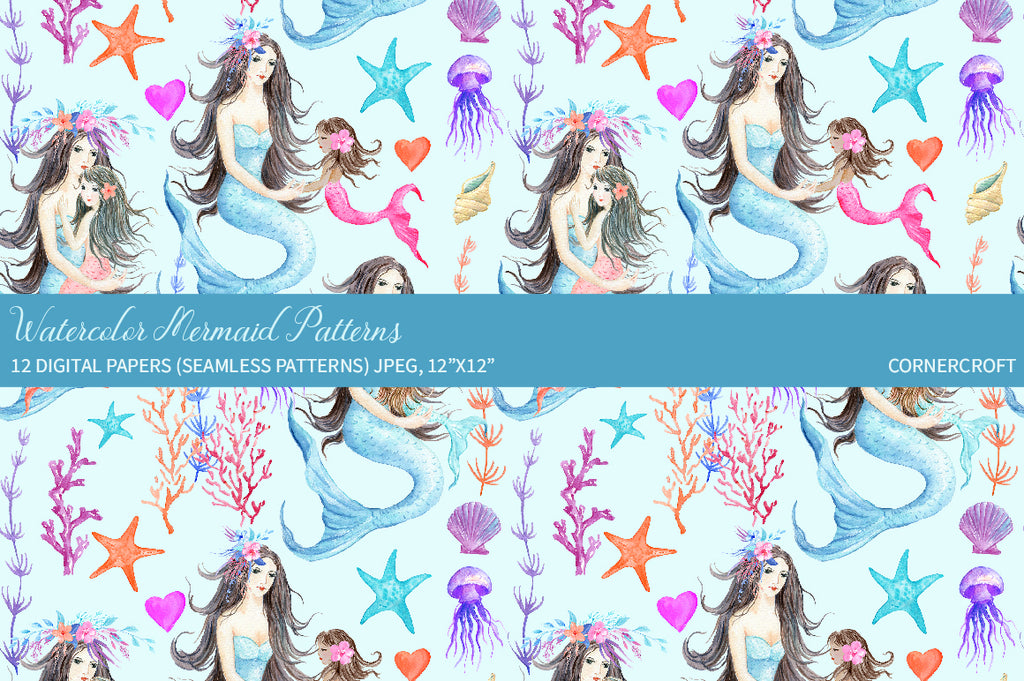 Watercolor mermaid pattern, digital pattern of mermaids and seashells