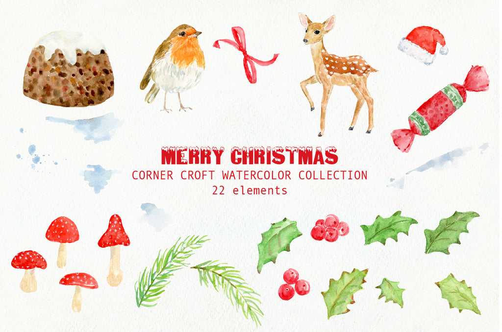 watercolour christmas elements, christmas cracker, holly leaves, robin deer