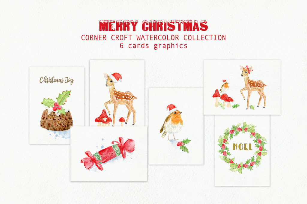 Watercolour christmas cards for instant download