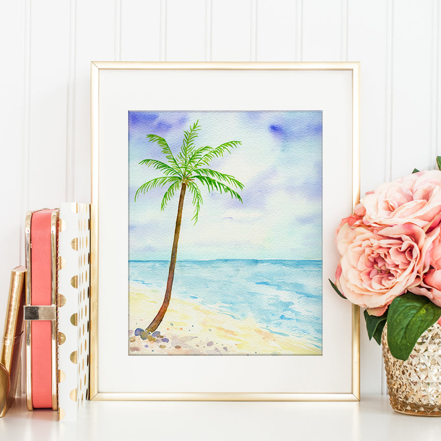watercolor painting of palm tree and beach, blue sea and sandy beach, digital print