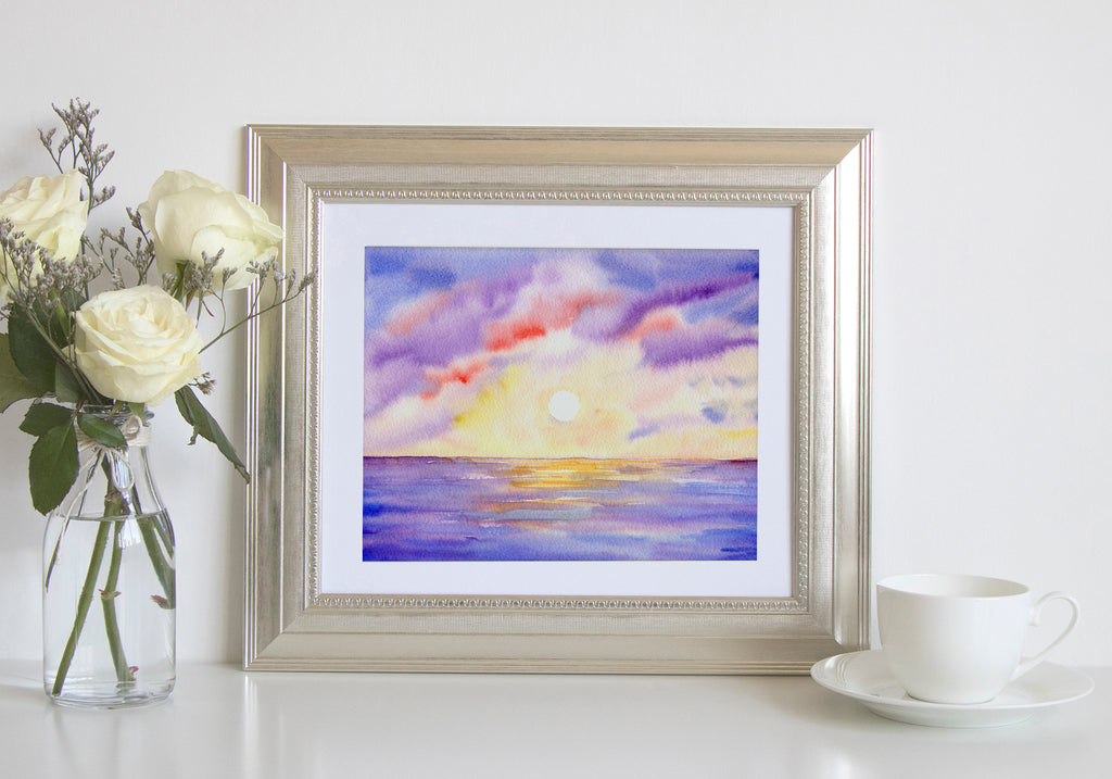 watercolor ocean sunset, watercolor painting, purple sunset, digital download