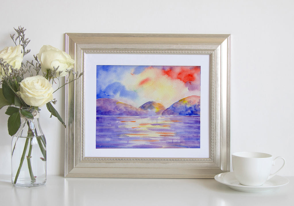 watercolor landscape painting sea water after storm, dramatic landscape