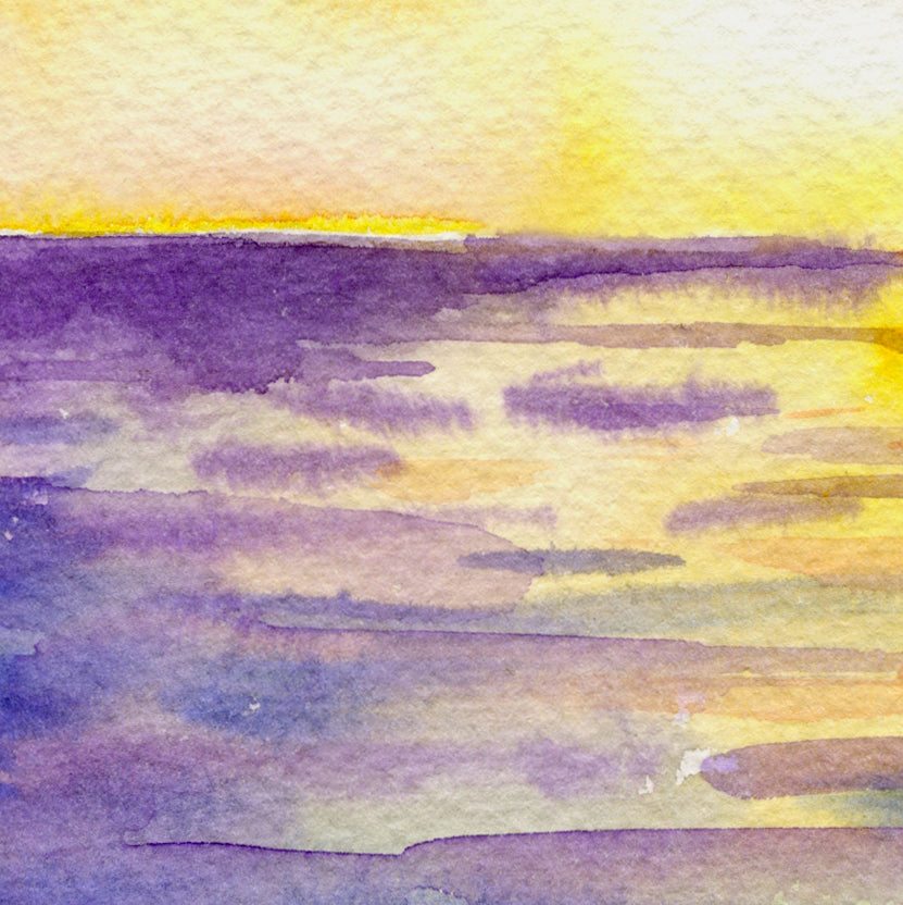 watercolor ocean sunset, abstract sunset at sea, instant download
