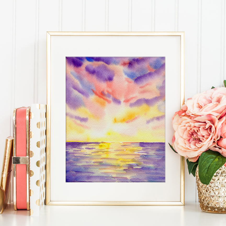 watercolor abstract painting of sunset at sea, digital print