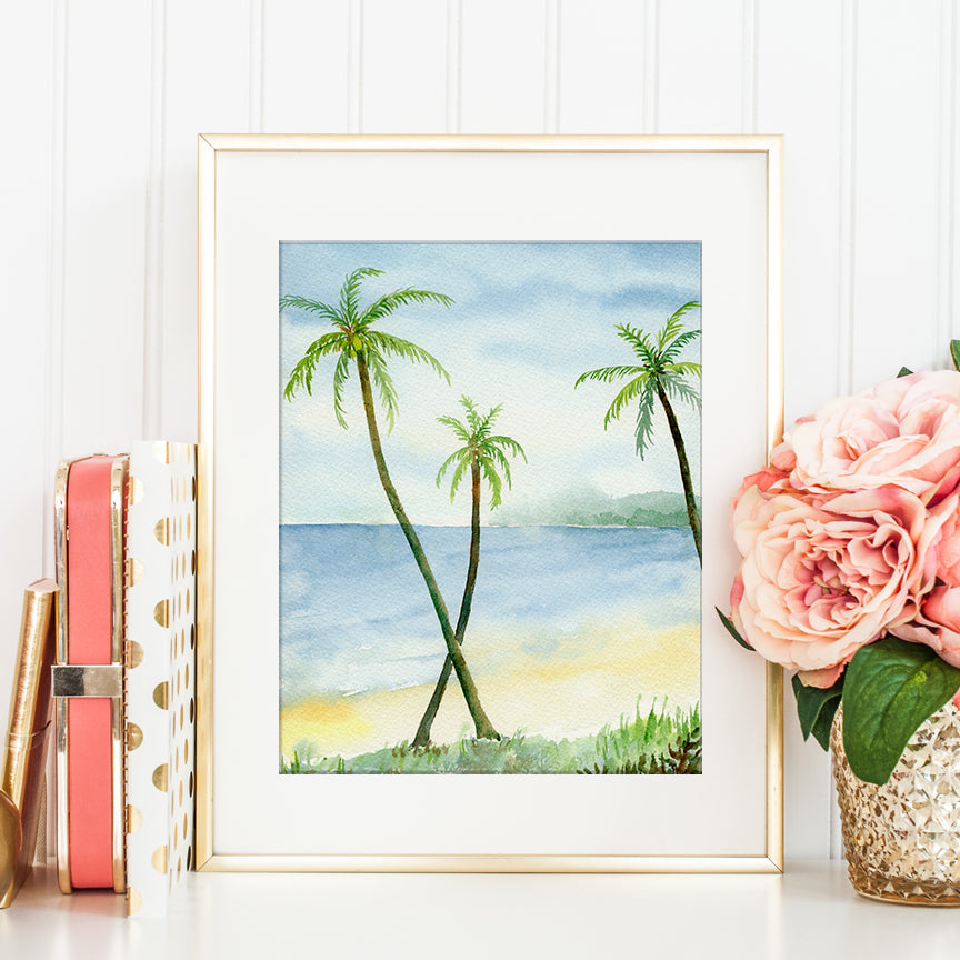 watercolor beach painting, palm trees and sandy beach, instant download