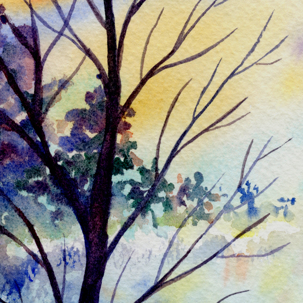 watercolor landscape painting for instant download, night scene, white cottage and flying birds,