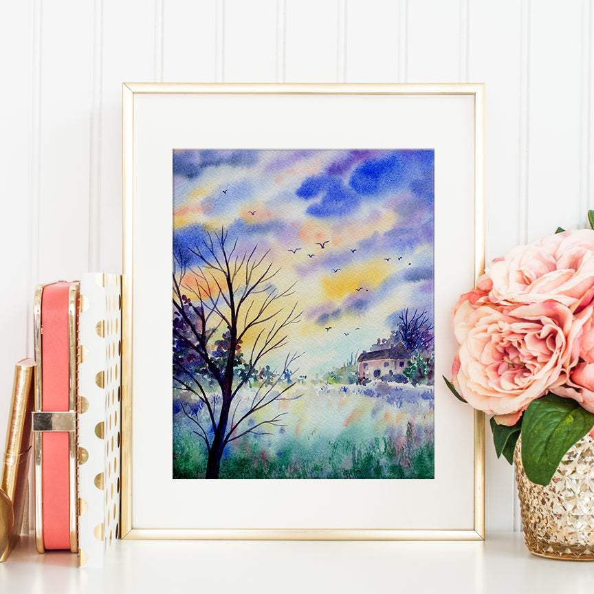 watercolor landscape painting, distant cottage and flying birds, night view, instant download